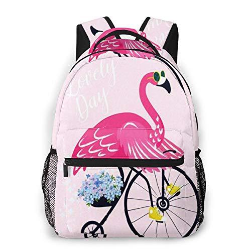 RAHJK Mochila Tipo Casual Mochila Escolares Mochilas Estilo Impermeable para Viaje De Ordenador Portátil hasta 14 Pulgadas Flamingo Gafas De Sol Pájaro Bicicleta