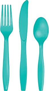 Creative Converting Touch of Color Premium 288 Count Assorted Plastic Cutlery, Teal Lagoon