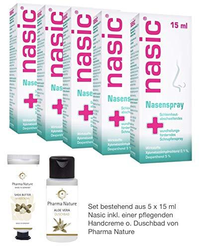 Nasic 5 x 15 ml Sparpack inkl. einer hochwertigen Handcreme o. Duschbad von Pharma Nature