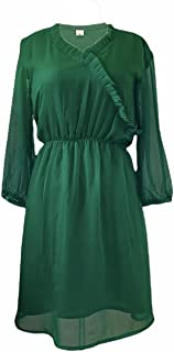 Ladies Long Dress Casual Long Sleeve Green
