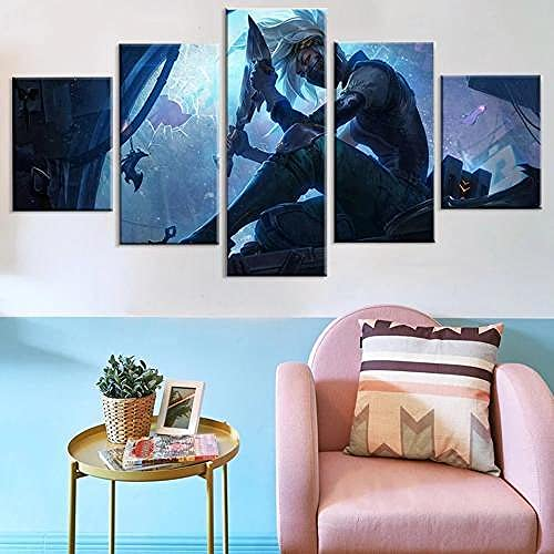 YUANJUN 5 Juegos De Pinturas Impresión HD Pintura De Arte De Pared Pintura Moderna Pintura De Decoración del Hogarimpresión De Lienzo XXL Póster del Héroe del Personaje del Juego