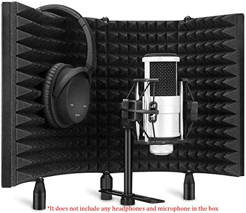 Professional Studio Recording Microphone Isolation Shield, Pop Filter,High density absorbent foam is used to filter vocal. Suitable for Blue Yeti and other condenser microphones (AO-504 With Stand)