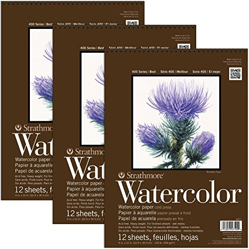 Strathmore 400 Series Watercolor Pads 9 x 12 Inch 12 Sheets Per Pad (3-Pads)