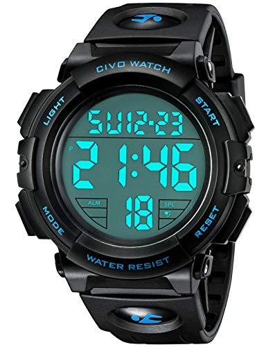 CIVO Relojes de Pulsera Digitales Deportivos Militares con Grandes Números a Prueba de Agua hasta 50M Reloj Negro de Pulsera Casual para Hombres de Goma