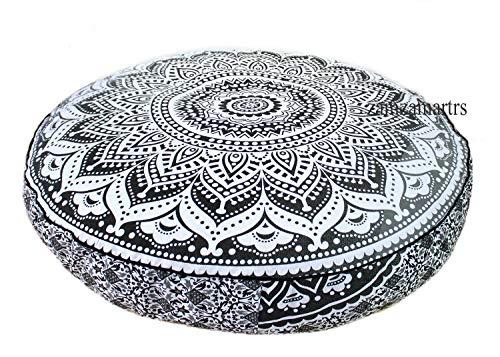 GDONLINE Ombre Mandala - Funda de cojín de 35 Pulgadas, Redonda, Decorativa, diseño de Mandala