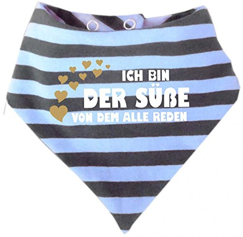 KLEINER FRATZ Kleiner Fratz Baby Halstuch gestreift (Farbe hellblau-grau) (Gr. 1 (0-74) Ich bin der Süße von dem alle reden