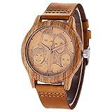 Personalisierte hölzerne Uhren Foto und Textgravur Armbanduhr Quarz Herren Uhr mit Lederband für...