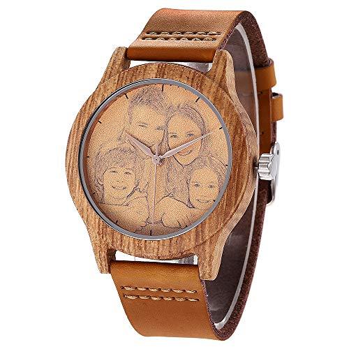 Personalisierte hölzerne Uhren Foto und Textgravur Armbanduhr Quarz Herren Uhr mit Lederband für Jubiläumsgeschenk, inkl Geschenkbox (Brown B)