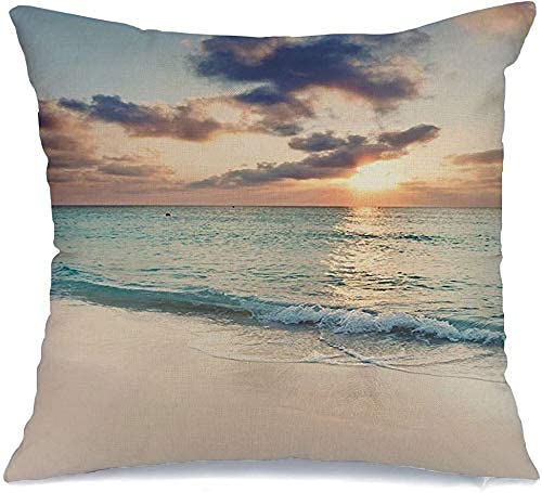 Throw Pillow Cover Funda de cojín, Sun to Wave Edge Acerca de Set Over Seven Mile Tropical Transportation Parks Outdoor Outdoor Crepúsculo Funda de Almohada