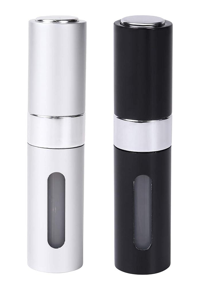 浮浪者会話ローラーCoffeefreaks アトマイザー 香水 詰め替え 携帯 スプレーボトル ワンタッチ補充 8ml (ブラックシルバーセット)