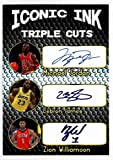 Michael Jordan - Lebron James - Zion Williamson Iconic Ink Triple Cuts Signatures Facsimile Auto - Basketball Card