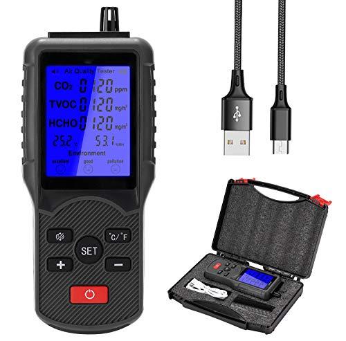 Kacsoo Rilevatore di qualità dell aria CO2 TVOC HCHO Temperatura Umidità Test Monitoraggio della qualità dell aria Analizzatore di gas portatile per auto dell ufficio domestico