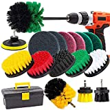 Drill Brush and Scrub Pads, GOH DODD 18 Pieces Power Scrubber Variety Cleaning Kit with Long Reach Attachment in Box for Bathroom Shower Scrubbing, Carpet Cleaning, Grout Scrubbing, and Tile Cleaning
