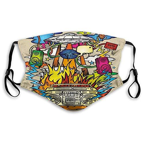 Face Scarf Moderne Kunst Hippie Funk Trippy Objekte Mit UFO Music Box Lippen Bänder Und Lautsprecher Bild Gedruckt Outdoor Personalisierte Reise Drucken Winddichter Mund Schal Ges
