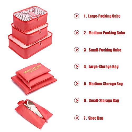 Koffer Organizer Reise Kleidertaschen,LOSMILE Set 7-teilig Reisetasche,Packtaschen Reisegepäck für Kleidung Schuhe Unterwäsche Kosmetik.(Wassermelonenrot Rot)