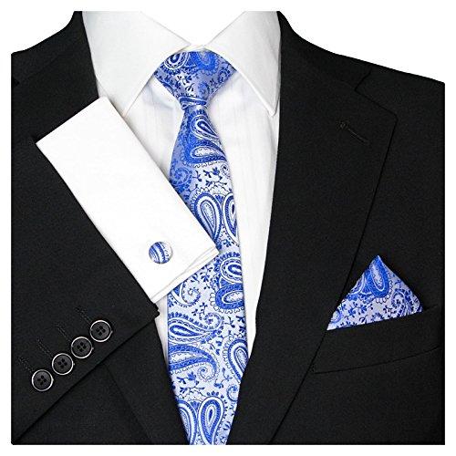 GASSANI Herrenkrawatte Schmal Paisley-Muster, Hell-Blaue Silberne Hochzeitskrawatte Gemustert, Einstecktuch Manschettenknöpfe Z. Hochzeits-Anzug
