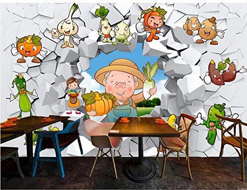 Papel Tapiz Fotográfico 3D Personalizado Pared Rota 3D Dibujos Animados Vegetales Frescos Vegetales De Temporada Restaurante Fondo Pared-200Cmx140Cm