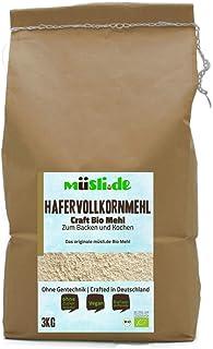 müsli.de BIO Hafervollkornmehl - 3kg, zum Backen z.B. Brot, Brötchen, Gebäck und Kuchen und Kochen geeignet.
