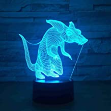 RJGOPL 3D Visual Baby Sleep Lighting Bedroom Decor Gifts Table Lamp schattige Animal Wolf Fox 7 kleuren veranderende LED n...