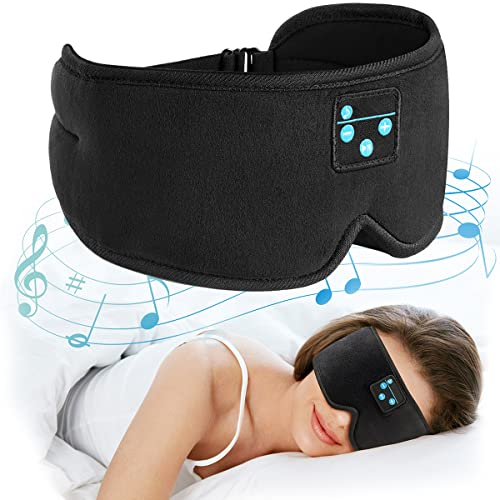 Sleep Headphones, Bluetooth Wireless Music Eye Mask,Ezona 3D Light Blocking Music Eye Mask Earbuds Cover with Adjustable Strap for Side Sleepers Insomnia Travel Yoga Nap Gifts for Men Women Black