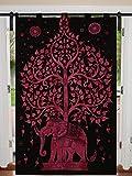 Juego de cortinas de mandala de algodón para ventanas de 125 cm x 208 cm, cortina de balcón, estilo bohemio, juego de cortinas y paneles étnicos para ventanas y cortinas de estilo hippie