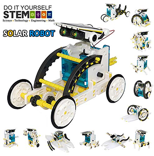 17Tek STEM 12-in-1 Educational Solar Robot Toys - 190 Pieces DIY Building Science Experiment Kit Powered by the Sun