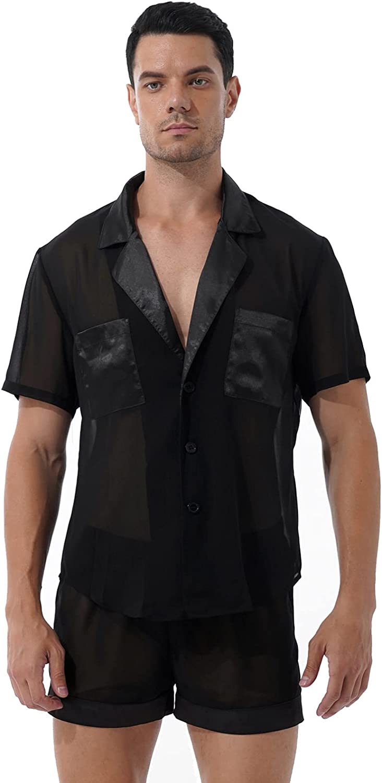 Moily Men's Chiffon Pajama Set See Through Satin Patchwork Sleep Shirts with Shorts Nightwear