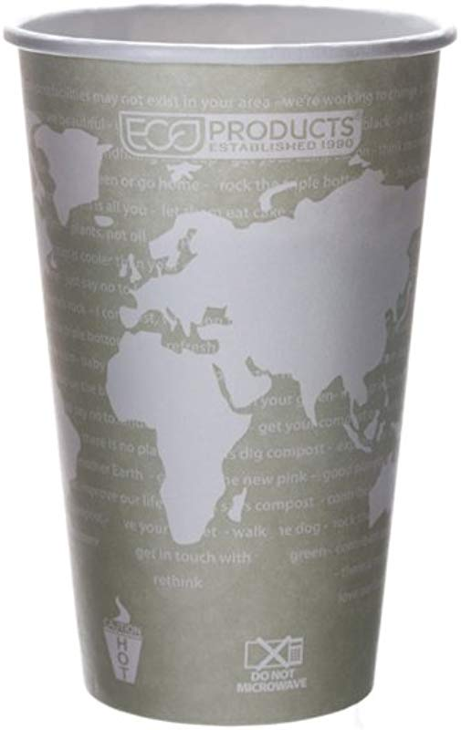 Eco Products World Art Renewable Compostable Hot Cups 16 Oz Case Of 1000 EP BHC16 WA