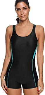 maysoul Women Boyleg One Piece Swimsuit Athletic Bathing Suits Colorblock Pro Swimwear