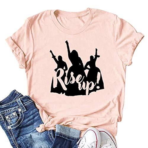 DREAMING-Primavera/Verano Tops de Mujer Suelta Casual Pullover Camiseta con Estampado de Letras Cuello Redondo Camiseta de Manga Corta XXL