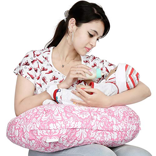 Lulamom Nursing and Feeding Pillow Multi-Purpose Comfortable Breastfeeding Washable with Cotton Cover