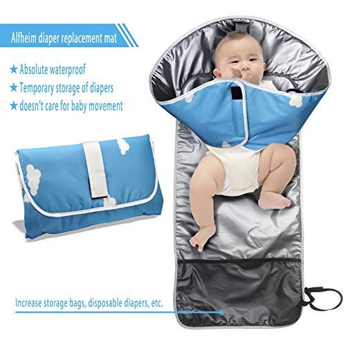 Alfheim Cambiador de pañales portátil - Manos limpias - Impermeable Plegable Hipoalergénico Kit para cambiar pañales - Almohadilla para pañales con bolsillo de almacenamiento Mantenga al bebé limpio