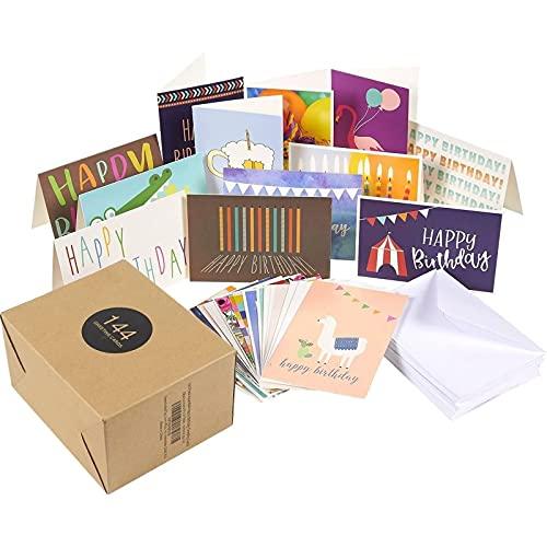 Tarjetas de Felicitación de Cumpleaños (Paquete 144) - Paquete variado de 36 diseños únicos - Interior en blanco, sobres incluidos - 10cm x 15 cm