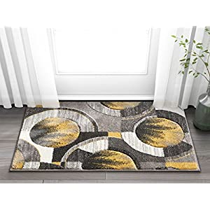 Well Woven Sunburst Gold, Light Gray, Charcoal Modern Geometric Comfy Casual Hand Carved 2×3 (2′ x 3′) Area Rug Easy to Clean Stain Fade Resistant Abstract Contemporary Thick Soft Plush