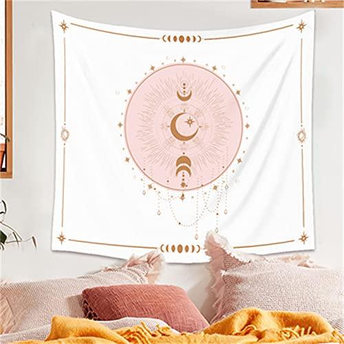 YYRAIN Sun Moon Tapiz Decoración del Hogar Colcha Hotel Café Colgante De Pared Dormitorio Mesita De Noche Tela De Fondo 51.2x59 Inch{130x150cm}