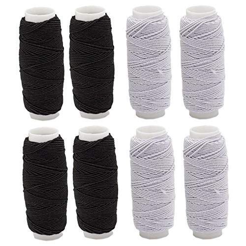 8pcs Thickness Round Shirring Elastic Craft Cord Thread (Black and White Color)