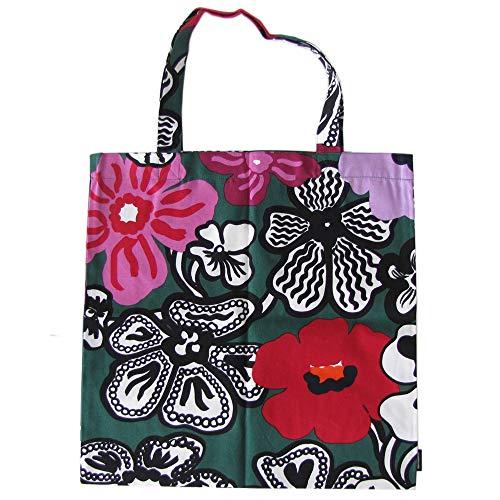 Marimekko Baumwolltasche Kaukokalpuu – Designer Tasche aus 100% Baumwolle – Grün/Lila/Rot – 44 x 43 cm – praktische Einkaufstasche