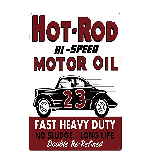 Original Vintage Design Hot-Rod Motro Oil Tin Metal Wall Art Poster, Thick Tinplate Wall Decoration Signs for Garage