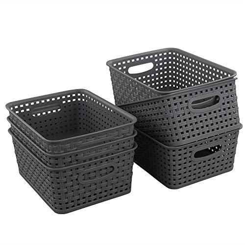 Teyyvn Plastic Storage Basket, 10.03' x 7.59' x 4.09', Pack of 6, Gray