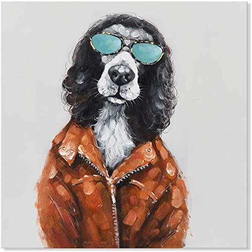 Animal Wall Art 100% Hand Painted Oil Paintings on Canvas Modern Artwork Painting for Kids Room Home Decoration (12 x 12 Inch, Rock and Roll Dog)