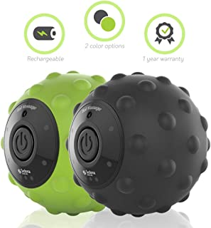 Sedona 4-Speed Vibrating Massage Ball - Rechargeable Textured Foam Roller Muscle Tension Pain & Pressure Relieving Fitness Massaging Balls Myofascial Release For Hips Feet Arms Back Neck Waist - Black