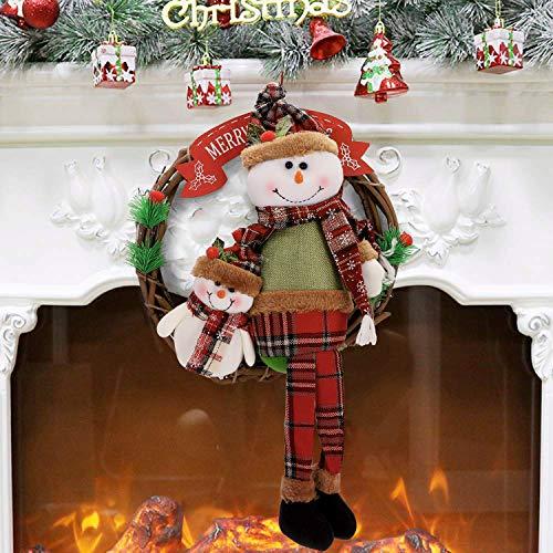 IBLUELOVER Kerst deur kransen opknoping Kerstman Sneeuwpop Rotan Boom Hanger Ornament Party Decoraties Accessoires voor Home Office Store