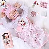 antboat 22 Zoll 55cm Lebensechte Reborn Baby Puppen Mädchen Reborn Baby Silikon Weiches Silikon...