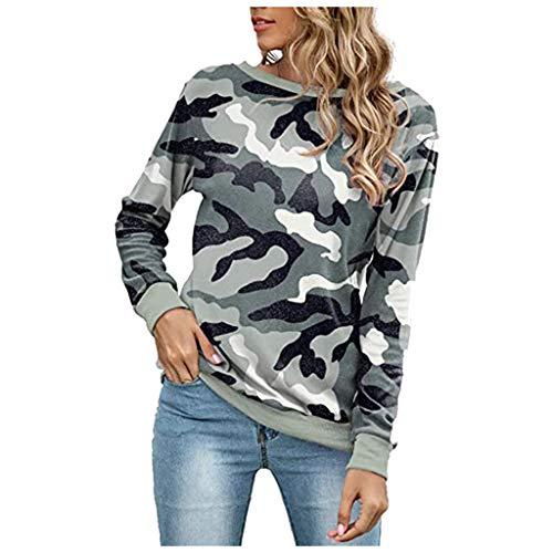 SEWORLD Oberteil Gedruckte Sweatshirts Basic Camouflage mit Rundhalsausschnitt Sportliche Shirts Kuschelige Sweatshirts Damen Sportspulli Herbst Winter Lässige Bequeme Langarmshirts
