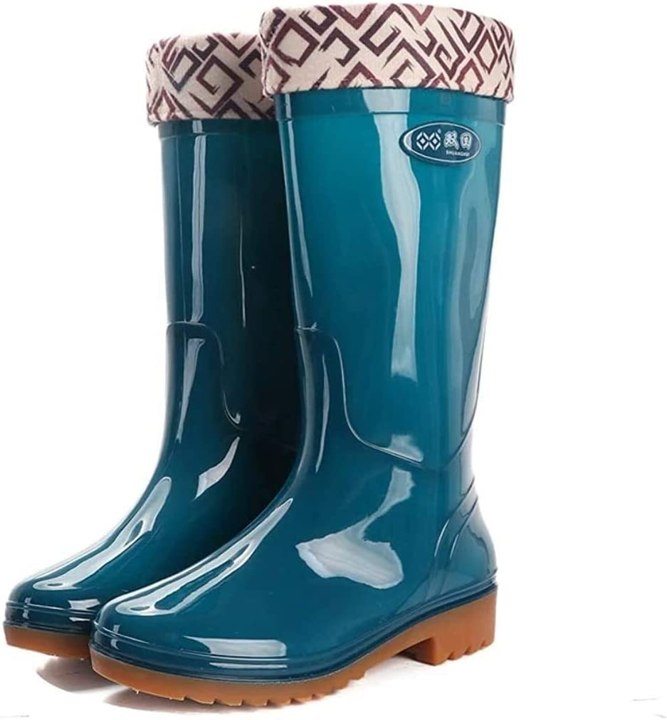 YIWANGO Women's Knee High Rain Boots Waterproof High Tube Rain Boots Garden Boots rain Boots (Color : Peacock Blue, Size : 39 EU)