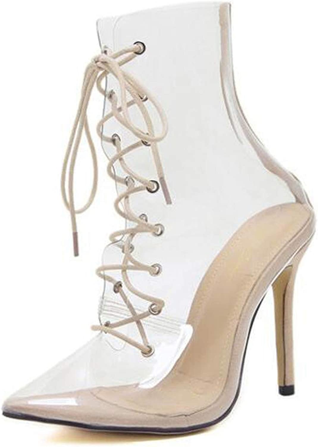 T-JULY Summer Autumn Women Mid Calf High Heels Boots Transparent Pointed Toe Cross Tie Sexy shoes