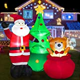 HOOJO 8 FT Christmas Inflatable Santa Clause with Bear and Christmas Tree Outdoor Decoration with Build in LEDs, Blow up Indoor, Yard, Garden Lawn Decoration
