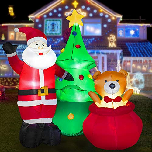 HOOJO 8 FT Christmas Inflatable Santa Clause with Bear and