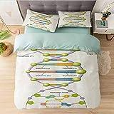 Aishare Store - Juego de funda de edredón para cama queen (2 fundas de almohada con cierre de cremallera y 2 fundas de almohada), diseño de código genético de ADN
