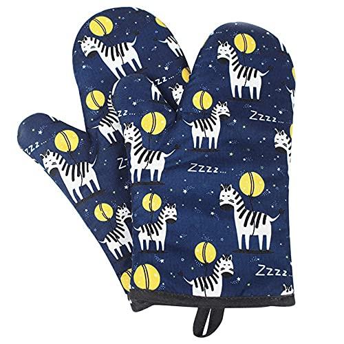 Ofenhandschuhe Set 2 Pack, Ofenhandschuh Hitzebestaendig, Topfhandschuhe Baumwolle, Backhandschuhe Anti-Rutsch, Backofenhandschuhe Grillhandschuhe Kochhandschuhe Mikrowellenhandschuhe Topflappen Blau